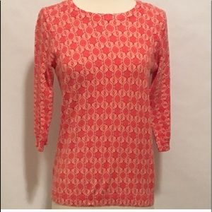 Old Navy Coral & Light Orange Patterned Sweater